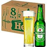 """[Amazon限定ブランド]【瓶ビール】ハイネケン オリジナルグラス""""STAR GLASS""""1個付 ラガータイプ 日本 330ml×8本 [ギフトBox入り]"""