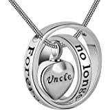 (Uncle) - No longer by my side,forever in my heart carved locket cremation Urn necklace for mom & dad