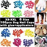VICTHY 100pcs Dog Nail Caps, Glitter Colors Pet Dog Soft Claws Nail Cover for Dog Claws with Glue and Applicators, XXL