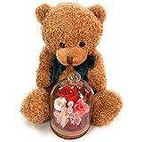 【NICHIFLRO】 ニチフロ プリザーブドフラワー 花とクマさん 成人式お祝い 卒業祝い 卒園記念 入学祝い バレンタイン ホワイトデー 誕生日 母の日 贈り物 プレゼント 可愛い ガラスドーム (レッド, ベア ブラウン)