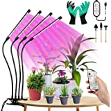 LED Grow Lights with Remote for Indoor Plants, Geecol 80W Full Spectrum Plant Lights with Remote and Auto ON/Off 3/9/12H Time