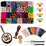 FORNORM Retro Fire Paint Seal Set,Sealing Wax Kit with Melting Furnace 24 Colors Wax Beads Paint Sealing Wax,Wax Stamp and Me