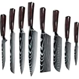 MDHAND Professional Kitchen Knife Set, German Stainless Steel Chef Knife Set with Cover, 8 Piece