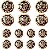 Meillia 11 Pieces Gold Metal Blazer Button Set 15MM 20MM for Blazers, Suits, Sport Coats, Uniform, Jackets Black Gold