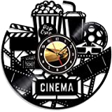 Home Theater Cinema and Popcorn Vinyl Record Wall Clock Movie Film Time Clock Watch Room Wall Home Theater Wall Decor Wall Ar