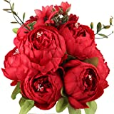 LeagelFake Flowers Vintage Artificial Peony Silk Flowers Bouquet Wedding Home Decoration, Pack of 1 (Spring Red)