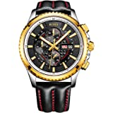 BUREI Mens Chronograph Quartz Watches with Black Dial Stainless Steel Case Calfskin Leather