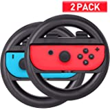 Racing Games Steering Wheel Grip - Suitable for Nintendo Switch Mario Kart, Joy-Con Steering Wheel, Blue & Black (2 Pack)