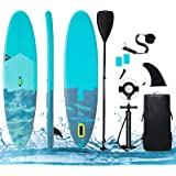 """Inflatable Stand Up Paddle Board ISUP Board 10′×32""""×6"""" Ultra-Light Compact Travel with All Accessories (Adjustable Paddle Lea"""