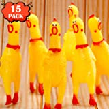 Rubber Chicken Screaming Chicken Squeaky Noise Shrilling Shrieking Squawking Chicken Noisemaker Novelty Gadget for Dogs Pets