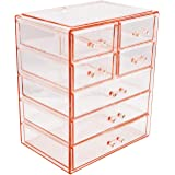 Sorbus Cosmetics Makeup and Jewelry Big Pink Storage Case Display- 3 Large and 4 Small Drawers Space- Saving, Stylish Acrylic