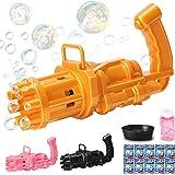 Bubble Gun, Bubble Gatling Gun 8 Holes with Multiple Bubbles, Free 10 Packs of Bubble Water, Children's Outdoor Toys (Yellow)