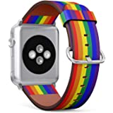 (LGBT Pride Rainbow) Patterned Leather Wristband Strap for Apple Watch Series 4/3/2/1 gen, for iWatch 42mm / 44mm Bands