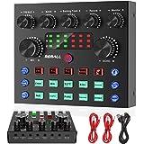 V8S Sound Card REMALL V8 Sound Card ボイスチェンジャー SoundCard V8サウンドカード 配信 bluetooth ミキサー 10の効果音 4種類ぼいすちぇんじゃー 3.5mmオーディオインターフェース楽器P