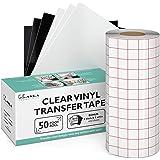 """Kassa Vinyl Transfer Tape Roll - 6"""" x 50 Feet - 3 Black, 3 White Vinyl Sheets Included - Clear Vinyl Transfer Paper for Silho"""