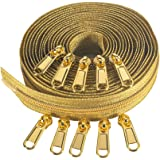 Coil Zipper by The Yard 5# -Nylon Metallic Long Zippers for Sewing, Gold Teech 5 Yard Upholstery with 10 Gold Slider -VOC Zip