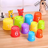 TOYANDONA Baby Stacking Cups Bath Toys 11Pcs - BPA Free Animal Stacking and Nesting Game