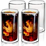 ZENS Double Walled Glasses,Unique Octagonal 13 oz Insulated Coffee Mugs Set of 4, Clear Borosilicate Glass Cups for Cappuccin