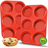Walfos Premium Silicone Muffin Top Pan, Non-Stick Muffin Top Baking Pan, Prefect for Baking Cake, Corn Bread, Muffin Top and