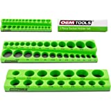 OEMTOOLS 22485 3 Piece Magnetic Socket Organizer, Holds 75 SAE Sockets, 1/4 Inch, 3/8 Inch, and 1/2 Inch Shallow and Deep Soc