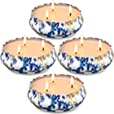 Hausware Citronella Candles Outdoor and Indoor, 4 Pack 3-Wick Scented Candles Gifts Set Natural Soy Wax Portable Travel Tin G