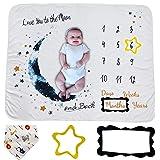 Baby Milestone Blanket, Gender Neutral Baby Monthly Blanket, Unisex Baby Milestone Blanket, Baby Photo Background Blanket wit