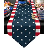 Z&L Home Linen Burlap Table Runner Dresser Scarves, Independence Day 4th of July Table Runners for Dinner Holiday Party, Wedd