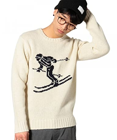 Intarsia Skier Pattern 3-Gauge Wool Crewneck Sweater 3213-105-0379: White