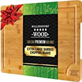 EXTRA LARGE Organic Bamboo Chopping Board   45cm x 30cm x 2cm with Juice Groove Best Kitchen Cutting Board for Meat (Butcher