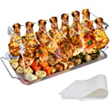 yamisan Chicken Leg Wing Grill Rack - 14 Slots Stainless Steel Roaster Stand with Drip Pan, BBQ Chicken Drumsticks Rack for S