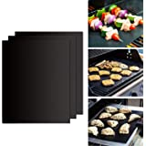 GWHOLE BBQ Grill Mat 50x40cm, Set of 3 Non Stick Barbecue Baking Mats for Charcoal, Gas or Electric Grill Reusable Non Stick