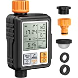 "Homitt Programmable Water Timer,3"" Large Screen/IP65 Waterproof/Child Lock Mode/Auto&Manual Mode/Rain Delay/Upgrade Material,"