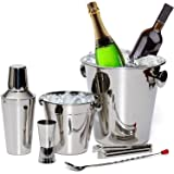 Bar Set By Bezrat – Stainless Steel Barware Accessories - Cocktail Kit for Parties & Fun – 6 Piece Bartender Set with Cocktai