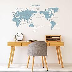 DECOWALL モダングレー 世界地図 ウォール ステッカー デコ (1509G/B 1609G/S)