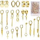 FIFATA Hoop Dangle Earrings 20 Pieces, Stainless Steel Stud Hinged Hoop Earrings, Cool Fashion Cross Long Chain Kpop Earrings