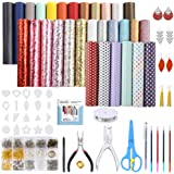 Caydo 30 Pieces Leather Earring Making Kit Include Instructions, 5 Style Faux Leather Sheet, Templates and Complete Tools for