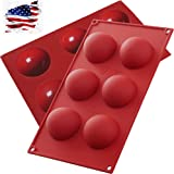 【2 Pack】6 Holes Silicone Molds for Chocolate, Jelly, Cake, Pudding. Handmade Soap, Round Shape, Dia: 2 1/2 inches