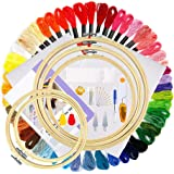Cross Stitch Starter Kit with Instructions Bamboo Embroidery Hoops Embroidery Threads Count Classic Cloth and Cross Stitch To