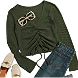 Romwe Women's V Neck Long Sleeve Tie Front Tee Waffle Knit Shirt Drawstring Top Blouse