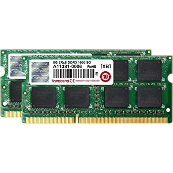 Transcend ノートPC用メモリ PC3-12800 DDR3 1600 16GB 1.5V 204pin SO-DIMM Kit (8GB×2) JM1600KSH-16GK