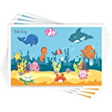 """Disposable Stick-on Placemats 40 Pack for Baby & Kids Table Topper Disposable, Toddler Placemats in Reusable Pouch 12"""" x 18"""""""