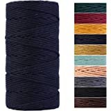 Navy Blue Macrame Cord 3mm x 109Yards,Colored Cotton Rope Craft Cord Colorful Cotton Cord Twine for Wall Hanging Plant Hanger