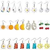 12 Pairs Earrings Gummy Bear Paint Palette Flowers Egg Toilet Paper Dice Daisy Flower Orange Cherry Face Earrings