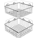 SMARTAKE 2-Pack Shower Caddy, Stainless Steel Adhesive Bathroom Shelf with Hooks, Wall Mounted Rack Storage Organizers for Do