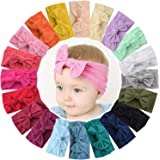 WillingTee 20 Colors Baby Girl Headbands and 4.5 Inch Bows Soft Elastic Nylon Hairbands Hair Bow Hair Accessories for Newborn