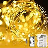 Areskey LEDイルミネーションライト ジュエリーライト 10M100球 フェアリーライト 電池式、USB式 二重電源供給 防水ワイヤーライト 8種類の点滅モード リモコン付き タイマー設定 調節可能な明るさ 屋外 室内 寝室の装飾用 ガーデン