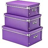 Storage Box,SEEKIND Decorative Storage Bins with Lid,3 in 1 Set,Plastic,with Handles,Press-Stud Fastening,Moisture-proof,Fold
