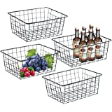Wire Storage Baskets for Organizing, 4 Pack Metal Wire Basket with Handles, Sturdiness Small Basket Organizer Bins for Pantry