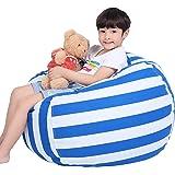 (100cm , Blue+white) - Stuffed Animal Bean Bag Stuffed Animal Storage or Sack Bean Bag Stuffed Animal Storage Organisation St