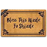 Home Decor Bless This Hizzle Fo Shizzle Welcome Mat with Rubber Backing Doormat Entrance Floor Mat Non-Slip Entryway Rug Easy